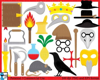 Medieval Doctor Props- Digital ClipArt Personal, Commercial Use 64 images cod192