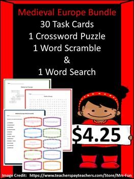 Medieval Europe - 30 Task Cards, 1 Crossword, 1 Word Search & 1 Word Scramble