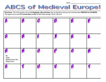 Medieval Europe ABCs - Worksheet