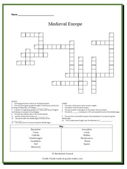 Medieval Europe Bundle - 1 Word Search & 1 Crossword Puzzle