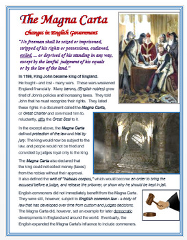 The Magna Carta - Changes in English Government + Assessment