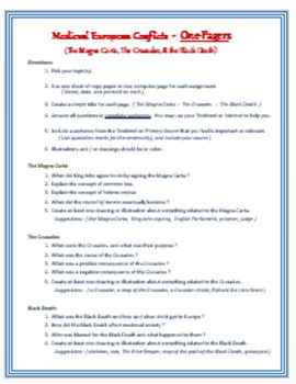 """Medieval Europe """"Conflict, Crusades, & Changes"""" - ONE PAGERS"""