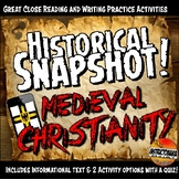 Medieval Europe Historical Snapshot Close Reading Investigation and QUIZ