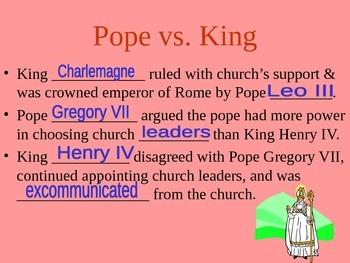 Medieval Europe Main Ideas - PowerPoint (& Blank copy)