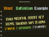 Medieval Europe - Middle Ages - Dark Ages - WORD SORT