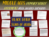 "Medieval Europe Primary Source: 1348 Black Death excerpt ""SIGNS OF DEATH"" w. Qs"