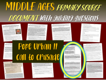 Medieval Europe Primary Source: Pope Urban II call to Crusade (w guiding Qs)