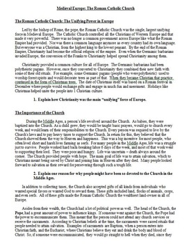 Medieval Europe Role of The Catholic Church Lesson Plan: Article and Questions
