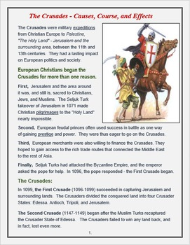 "Medieval Europe ""The Crusades - Causes, Course, & Effects"""