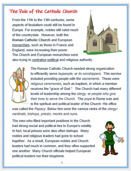 The Role of the Medieval Catholic Church + Assessments