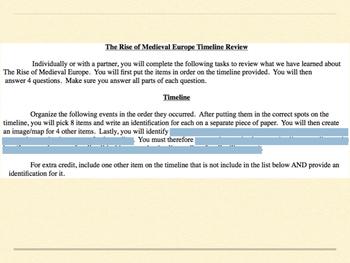 Medieval Europe Timeline Review BUNDLE