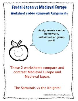 Medieval Europe vs Feudal Japan Worksheets