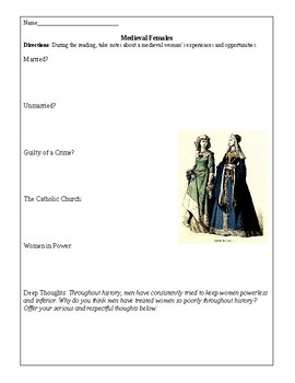 Middle Ages: Females / Women in Medieval Europe
