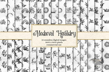 Medieval Heraldry Digital Paper and seamless fantasy backgrounds