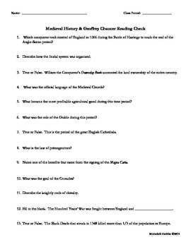 Medieval History/ Geoffrey Chaucer Quiz