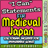 "Medieval Japan ""I Can"" Statements & Learning Goals! Log & Measure Japan Goals!"