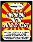 Medieval Japan Quiz and Test Common Core Writing and Literacy