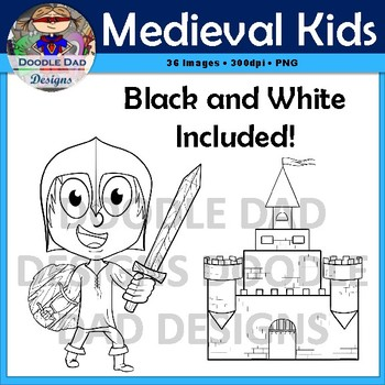 Medieval Kids Clip Art (Sword in stone, Middle Ages, Fantasy, Fairy Tale)