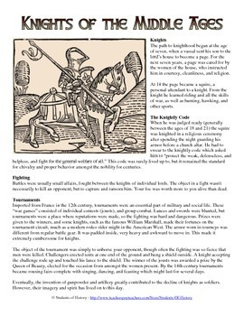 Medieval Knights Reading and Common Core Worksheet