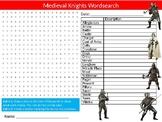 Medieval Knights Wordsearch Sheet Starter Activity Keywords European History