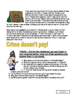 Medieval Crime and Punishment Worksheet