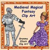 Clip Art - castle - harp - knight - princess - swan - unicorn - falcon - crown