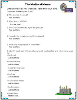 Medieval Manor Activity for Google Classroom and OneDrive