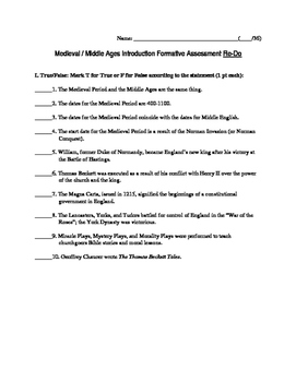 Medieval/Middle Ages Introduction: A Formative Assessment