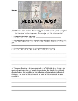 Medieval Music & Minstrels Lesson & Worksheet
