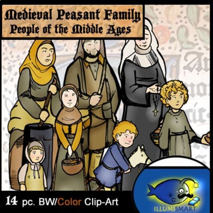 Medieval Peasant Family Clip-Art! 14 Pieces BW/Color by ...