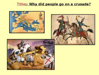 Medieval Realms. Why did people go on a crusade?