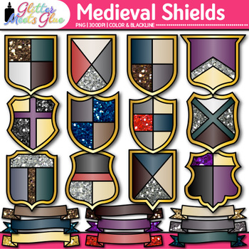 Medieval Ribbon & Shield Clip Art {Middle Ages Armor Graphics, Social Studies}