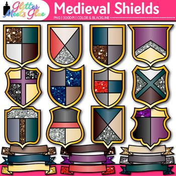 Medieval Ribbon & Shield Clip Art   Middle Ages Armor Graphics, Social Studies