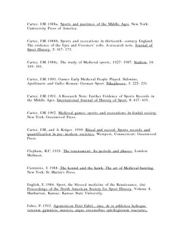 Medieval Sports Bibliography