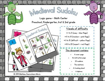 Medieval Sudoku - Logic Game - Math Center - Castle themed - Junior