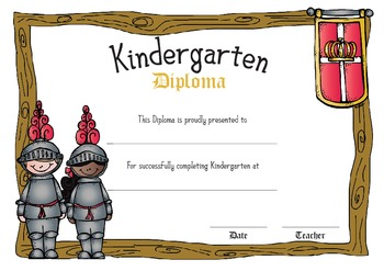 Medieval Themed Diplomas for Kindergarten FREEBIE!