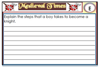 Medieval Times / Middle Ages Quiz Cards /Task Cards With Answers