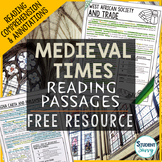 Medieval Times - Middle Ages Reading Passages Free Resource