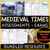 Medieval Times - Middle Ages Tests - Exams Bundle