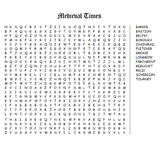 Medieval Times Word Search