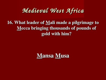 Medieval West Africa Test Review Powerpoint (CA Standards Based)