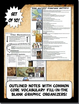 Medieval World History Curriculum Outlined Notes and Graphic Organizers