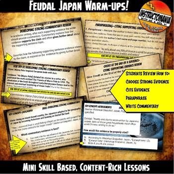 Medieval or Feudal Japan Warm-Ups Skill Based, Content Mini Lessons