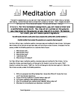 Meditation Homework Assignment