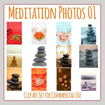 Meditation Themed Photos / Photograph Clip Art Set for Commercial Use