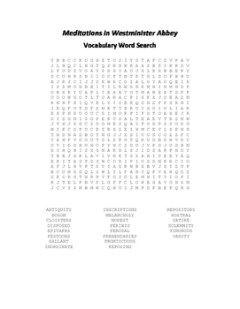 Meditations in Westminister Abbey Vocabulary Word Search - Addison