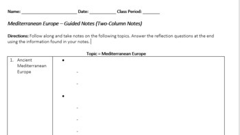 Mediterranean Europe PowerPoint and Guided Notes Bundle