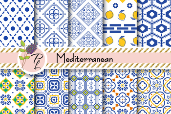 Mediterranean Seamless Pattern Set. Digital paper pack.
