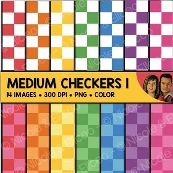 Digital Paper - Medium Checker Backgrounds 1