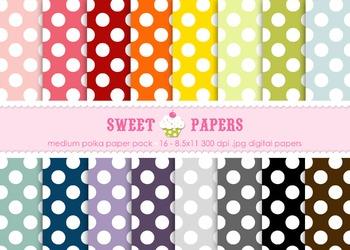 Medium Rainbow Polka Digital Paper Pack - by Sweet Papers